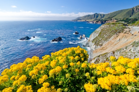 California SR1 es una de las costas más bellas del mundo Foto de archivo