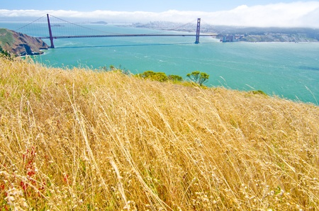 The Golden Gate Bridge and San Francisco as seen from Hawk Point at the Golden Gate National Recreation Area photo
