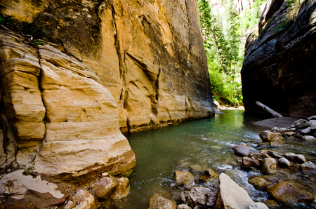 zion: Scenery from The Narrows hike at Zion National Park Stock Photo