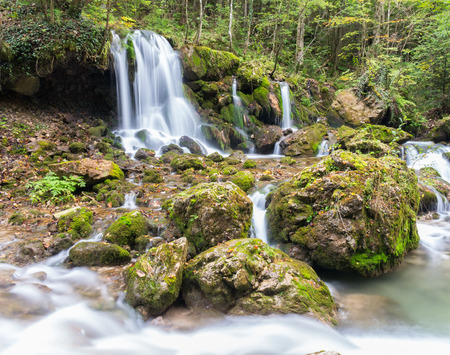 dosh: Cascade falls over mossy rocks at Mixnitz in Styria, Austria Stock Photo