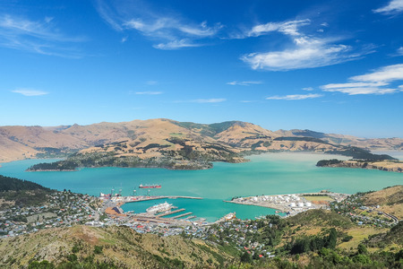 Aerial view of Lyttelton port from the top of Christchurch Gondola Station at Port Hills in the South Island of New Zealand.