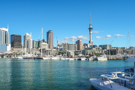 Auckland Harbor and Sky tower, the landmark in NZ.