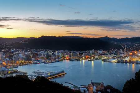 Night view from Mt Victoria over Wellington, New Zealand.