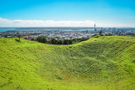 Landscape of Auckland city from the summit of Mount Eden. (North Island, New Zealand) Stock Photo