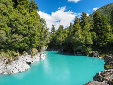 Hokitika Gorge, The vivid turquoise water surrounded by lush native bush. (South Island, NZ) Stock Photo