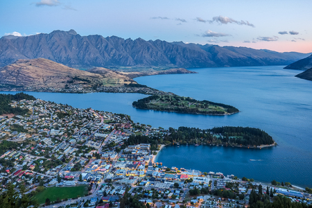 Aerial view of Queenstown from the top of gondola station, New Zealand. Stock Photo