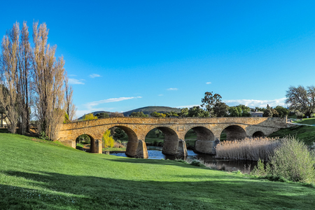 Richmond Bridge is the oldest stone span bridge of Australia in Tasmania. Stock Photo