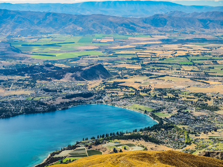 Aerial view of Wanaka Town form the top of Roys Peak in New Zealand.