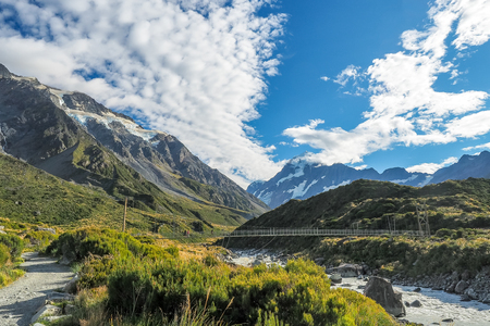 The swing bridge at the Hooker Valley Track in Mt Cook National Park. (New Zealand) Stock Photo
