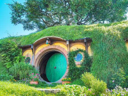 Matamata, New Zealand - Mar 27, 2016: Frodo Baggins house is the most famous one in Hobbiton Movie Set.
