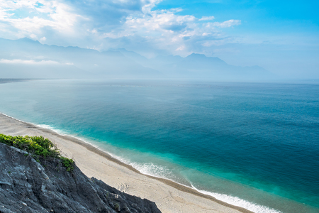 Qixingtan Beach, the Hualien City landmark in the east coast of Taiwan Foto de archivo