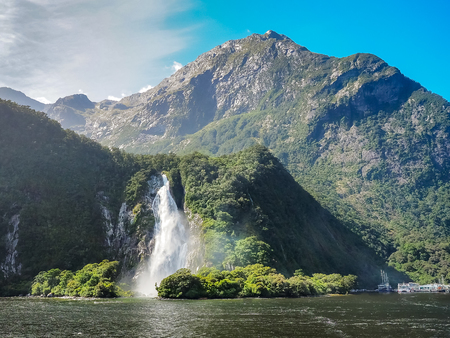 Bowen Falls in Milford Sound, New Zealand.