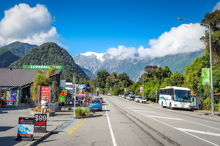 Franz Josef, New Zealand - Feb 28, 2015: A little town with a unique ice glacier landscape and a range of outdoor activities on offer.