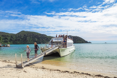 Abel Tasman Scenic Cruises, New Zealand - Feb 26, 2016. A Water Taxi Was Full of Tourists from Kaiteriteri to Medlands Beach.