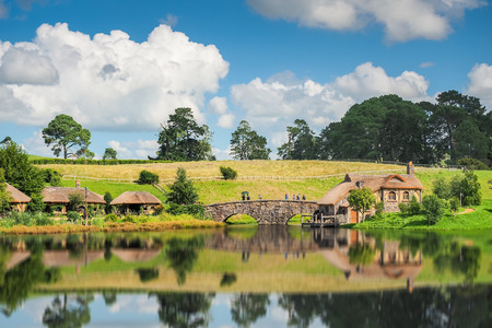 Matamata, New Zealand - Mar 27, 2016: The Shire is the Hobbit village featured in the film, The Lord of the Rings. Editöryel