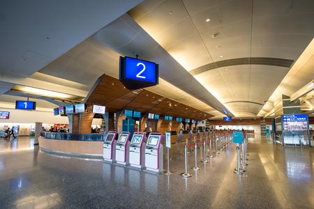 Taoyuan, Taiwan - Dec 6, 2018: The check in counters in the terminal 1 of Taoyuan International Airport.