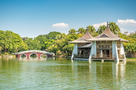 Taichung Park Pavilion and Zhongshan Bridge, the landmarks of Taichung City.