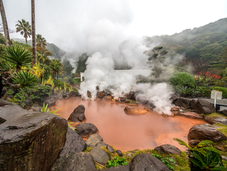 The red thermal pool in Umi Jigoku, the sea hell in Beppu City.