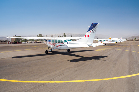 The flights are waiting for tourists to overlook the Nazca Lines. Stok Fotoğraf