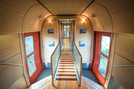 Kyushu, Japan - Dec 2, 2018: The interior of Yufu no Mori cabin, the express tour train.