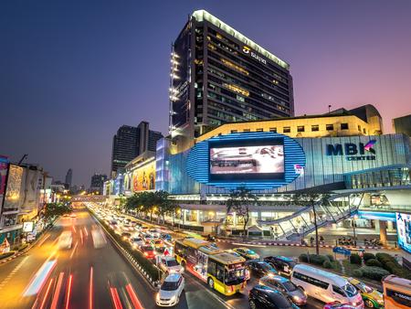 Bangkok, Thailand - Mar 21, 2019: Traffic jam around MBK Shopping Center at night.