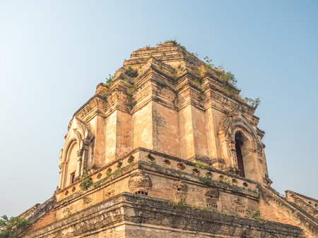 Wat Chedi Luang, a Buddhist temple in Chiang Mai, Thailand.
