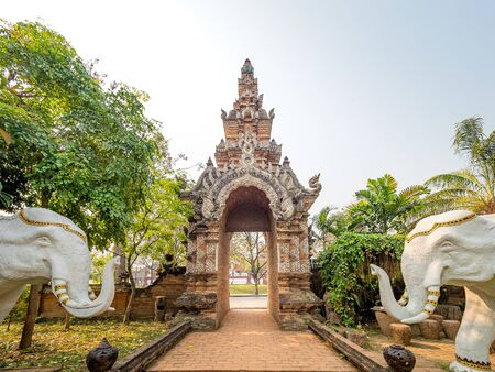 The entrance gate of Wat Lok Molee temple in Chiang Mai of Thailand.