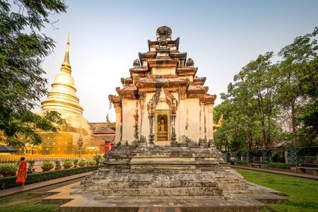 Wat Phra Singh Temple with sunset in Chiang Mai.
