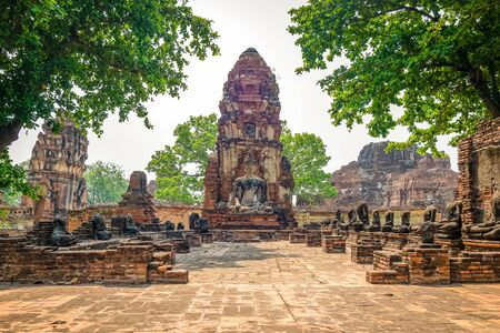 Wat Mahathat, Temple of the Great Relic in Ayutthaya, Thailand.