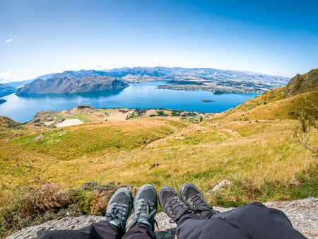 Aerial view of Lake Wanaka from the top of Roys Peak in New Zealand.