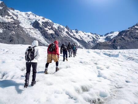 Tasman Glacier hiking in Mt Cook National Park of New Zealand. Stok Fotoğraf