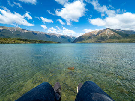 The view of Kerr Bay at Lake Rotoiti in Nelson Lakes National Park, New Zealand.