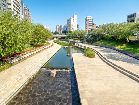 Taichung, Taiwan - Nov 14, 2018: Shin Sei Green Waterway is located in front of the Taichung Railway Station.