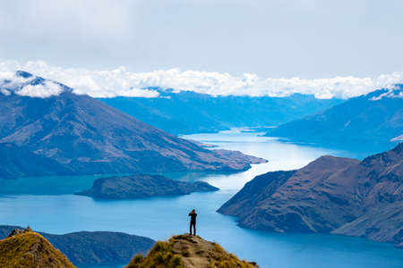 Aerial view of Roys Peak with Lake Wanaka in New Zealand. Stok Fotoğraf