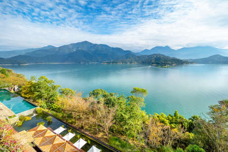 The aerial view of Sun Moon Lake with swimming pool and resort villa in Yuchi Township, Nantou, Taiwan. Stok Fotoğraf
