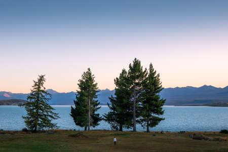 A woman wearing white sweater is walking along Lake Tekapo with sunset in New Zealand.