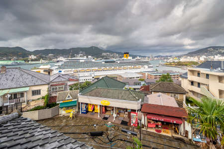 Nagasaki, Japan - Feb 2, 2020: The view of Nagasaki Harbor with Glover Street was shot from the top Glover Garden.