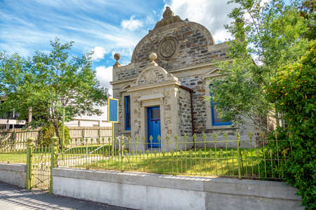 Cromwell, New Zealand - Feb 6, 2020: The Cromwell Kilwinning Lodge No. 98 was founded in 1869, constructed of local stone set in Cromwell Heritage Precinct. Editorial
