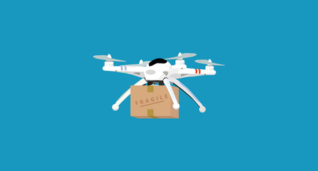 A White Flying Drone Delivering A Package  イラスト・ベクター素材