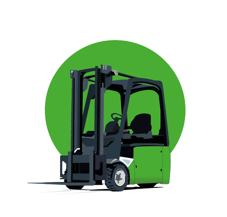 Green Electric Forklift Truck With Three Wheels