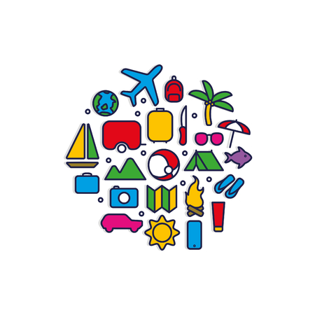 Colorful Travel Icons Set For Summer Holidays