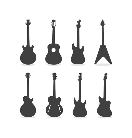 Silhouette Of Acoustic Semi-Acoustic And Electric Guitars