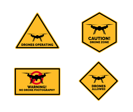 Yellow Black Drone Signs Vector Illustration
