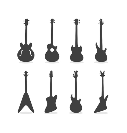Silhouette Of Acoustic Semi-Acoustic And Electric Bass Guitars  イラスト・ベクター素材