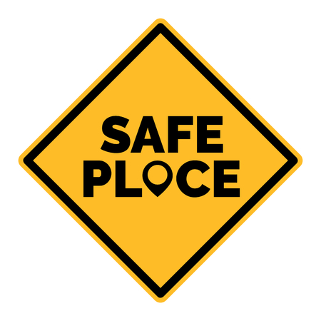 Squared Yellow Safe Place Vector Sign With Black Map Pointer