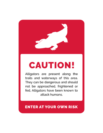 Red Vector Caution Sign for Wild Alligators With Illustration Silhouette