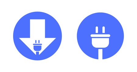 Blue Vector Icons For Charging Point For Mobile Devices