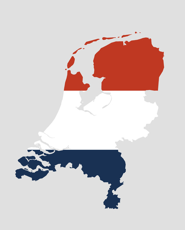 The Netherlands Vector Map With The Official Red White And Red Flag
