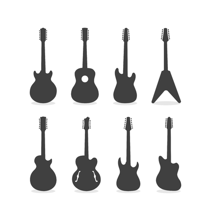 Silhouette Of Acoustic Semi-Acoustic And Electric 12 String Guitars  イラスト・ベクター素材