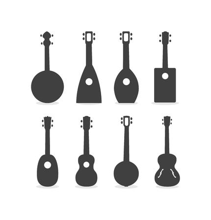 Silhouette Of Ukulele Guitars Vector